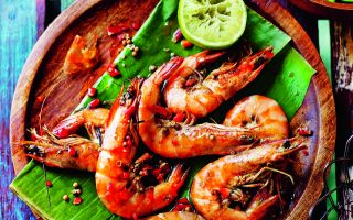 Photo: Curried Prawns with Cucumber Relish